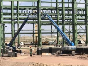 4 Genie Equipment assisting in Steel Work